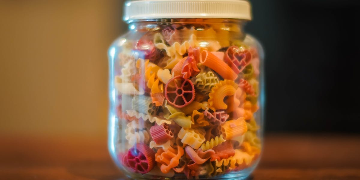 dried pasta in jar