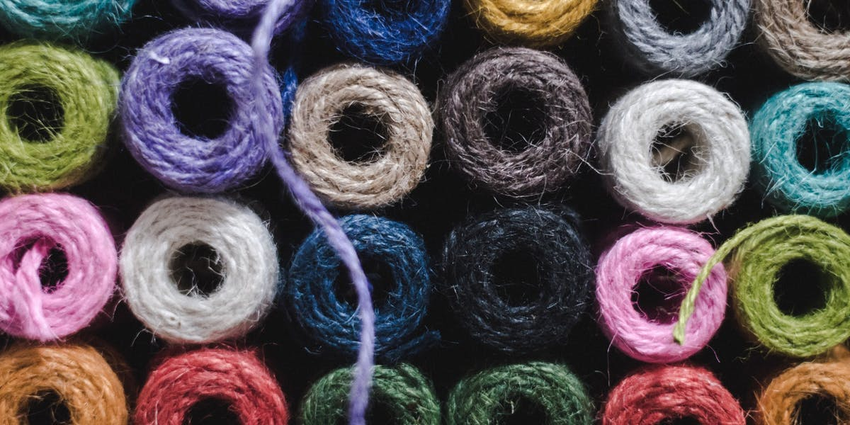 rolls of colourful wool