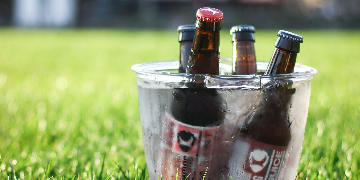 Beer bottles in bucket of ice in park