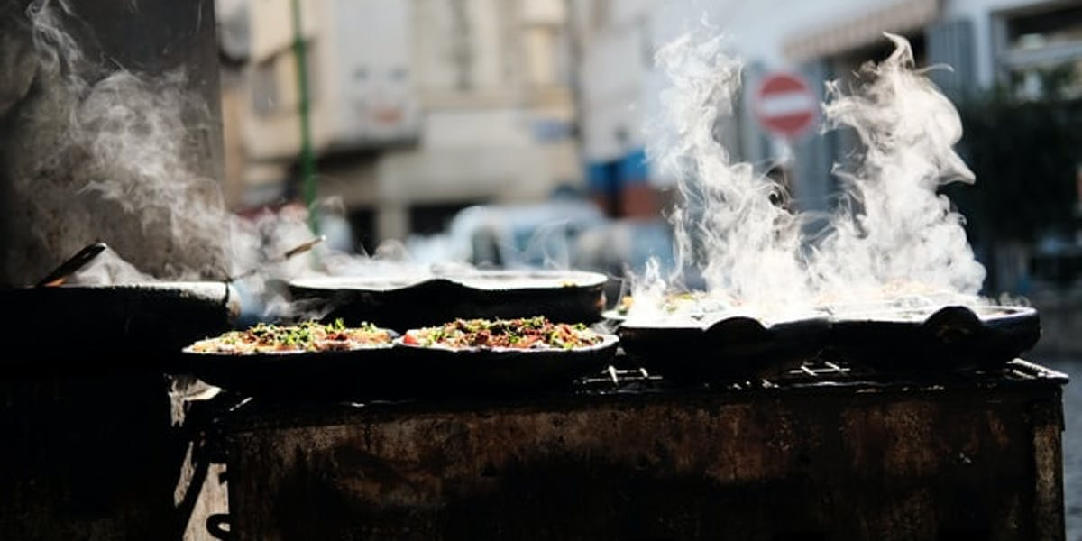 steaming streetfood stall